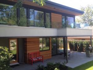 Custom-milled corrugated cedar siding